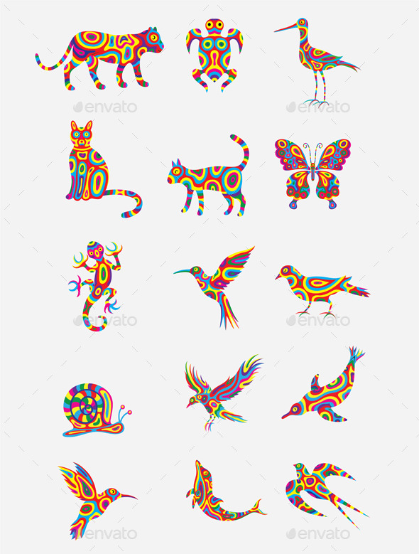GraphicRiver Colorful Animal Set 10286394