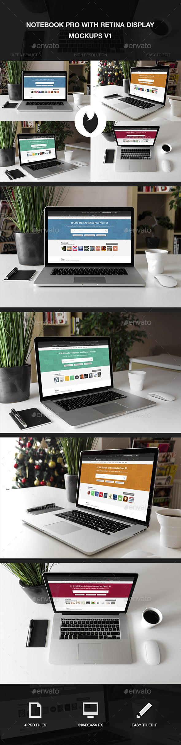 GraphicRiver Notebook Pro with Retina Display Mockups V1 10268849