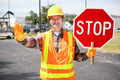 Construction Worker with Stop Sign - PhotoDune Item for Sale