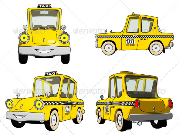 Cartoon Taxi Cab - Objects Illustrations