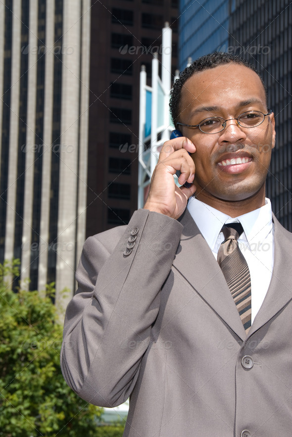 Black businessman on cell phone