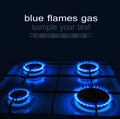 Blue flames of gas burning from a kitchen gas stove with space f - PhotoDune Item for Sale