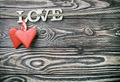 hearts made of felt and the word love made - PhotoDune Item for Sale