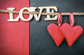 hearts made of felt and the word love made of wood - PhotoDune Item for Sale