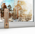 Thermometer on a frozen window and cold weather - PhotoDune Item for Sale
