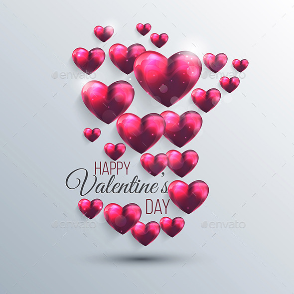 GraphicRiver Abstract Background with a Pink Valentine Hearts 10288104