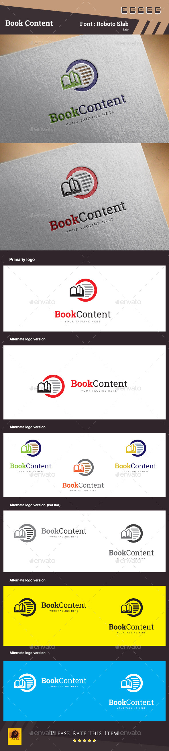 GraphicRiver Book Content Logo Template 10288936