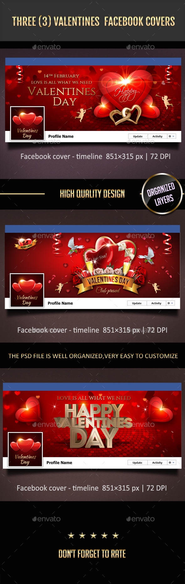 3 Valentines Day Facebook Covers