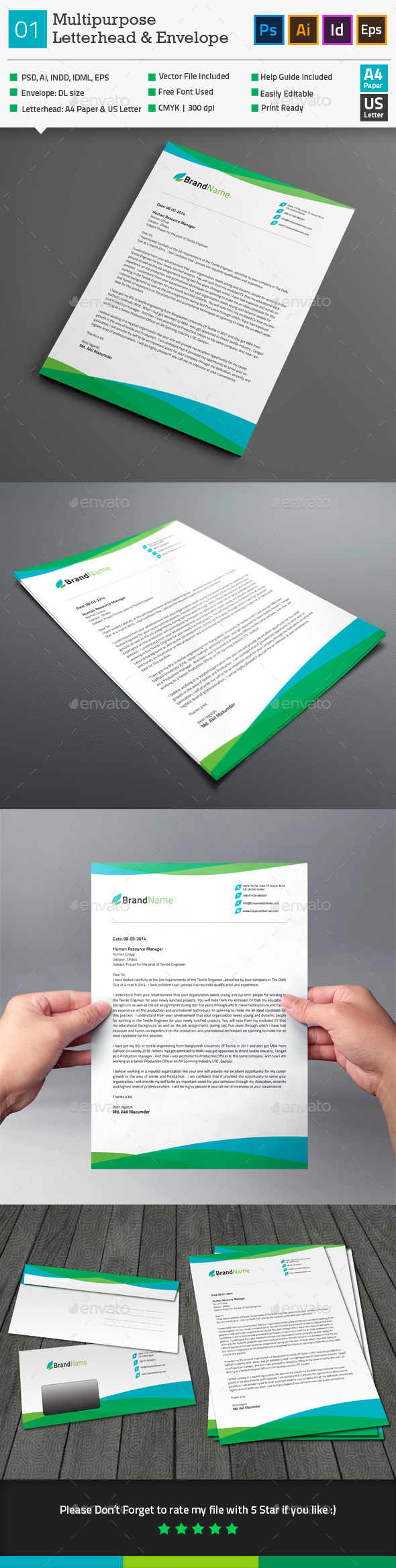 GraphicRiver Multipurpose Letterhead & Envelope Template 01 10250236