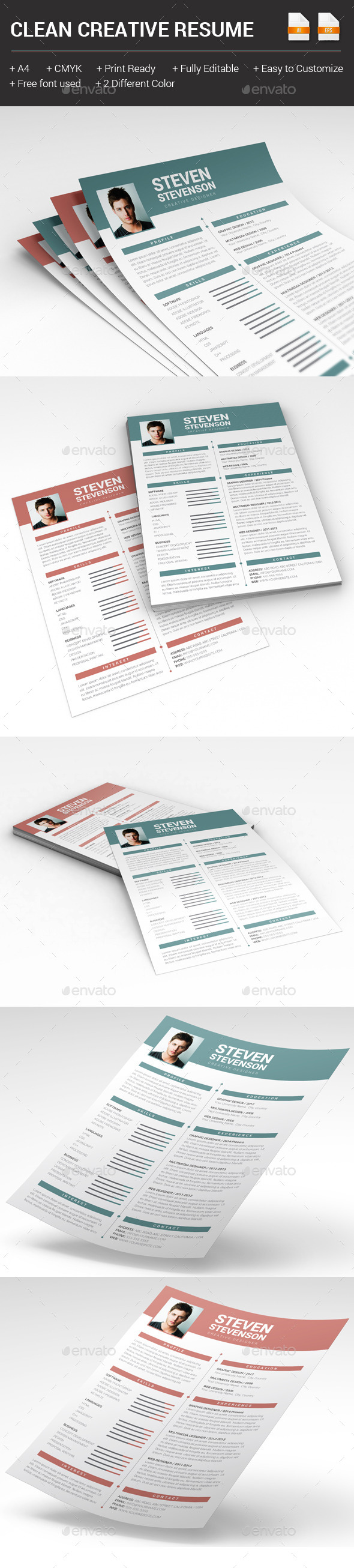 GraphicRiver Clean Creative Resume 10289095