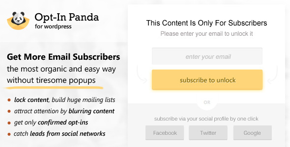 CodeCanyon Opt-In Panda for Wordpress 10224279