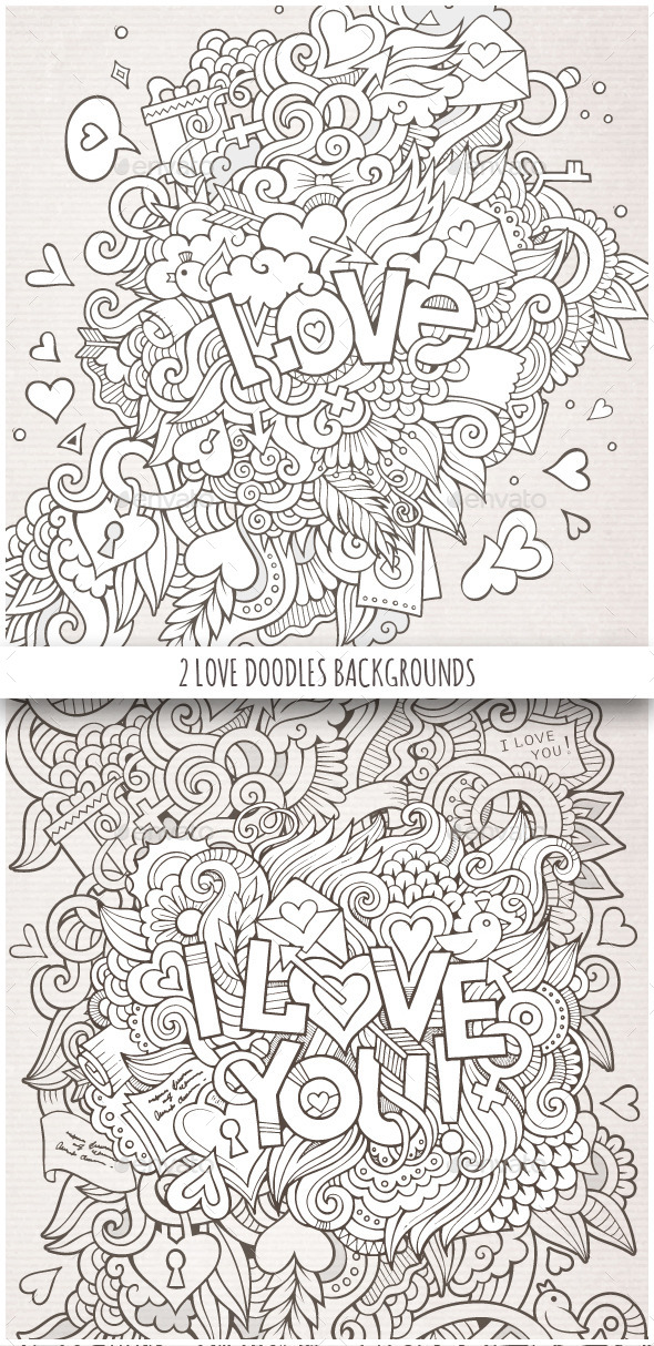 GraphicRiver 2 Love Doodles Backgrounds 10289426