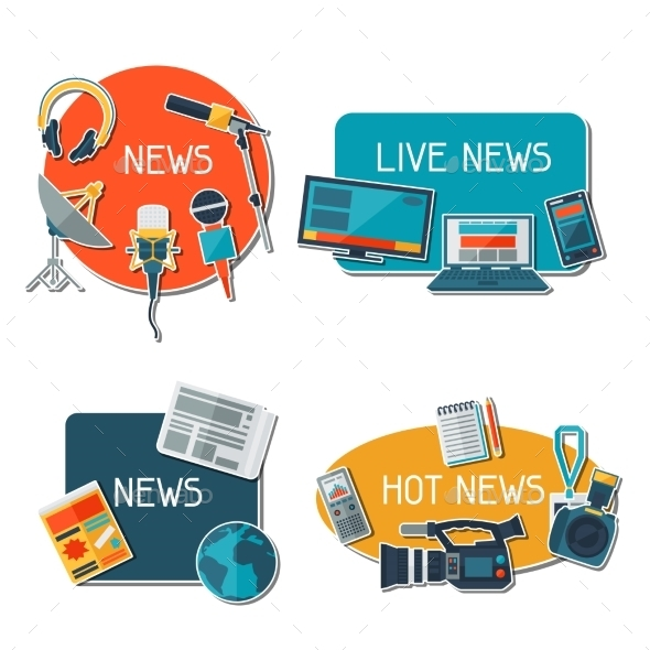 GraphicRiver Stickers with Journalism Icons 10289427