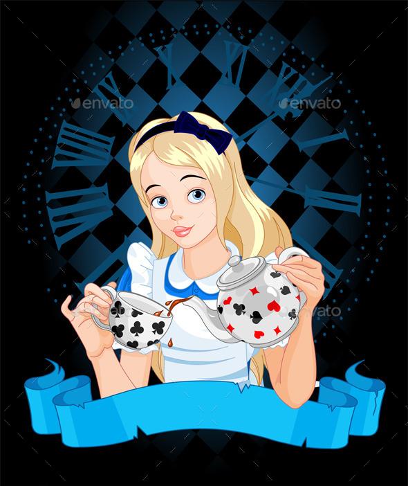 GraphicRiver Alice Takes Tea Cup 10289454