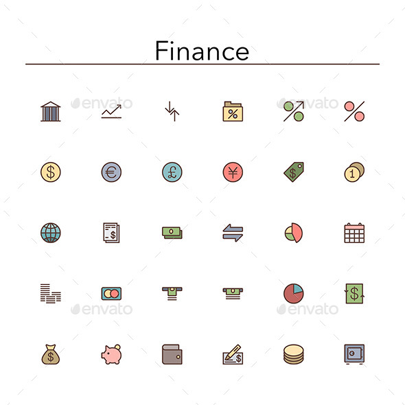 GraphicRiver Finance Colored Line Icons 10289507