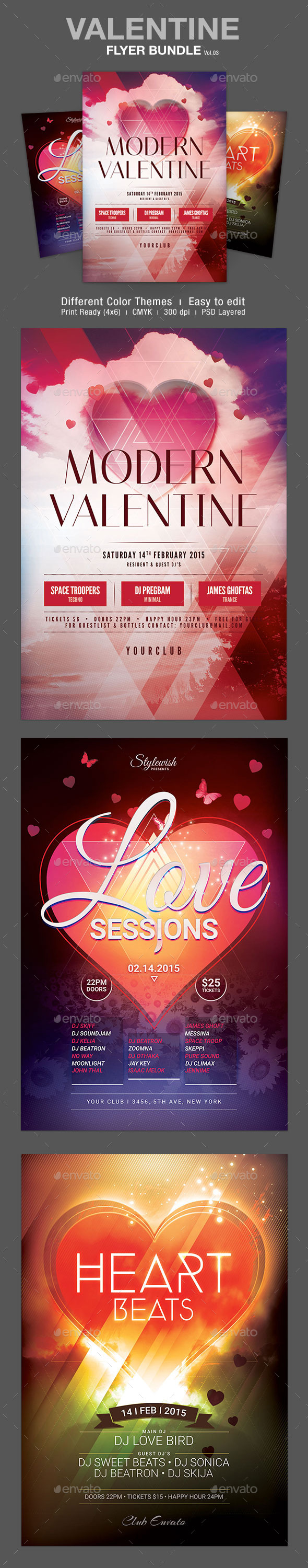 GraphicRiver Valentine Flyer Bundle Vol.03 10289510