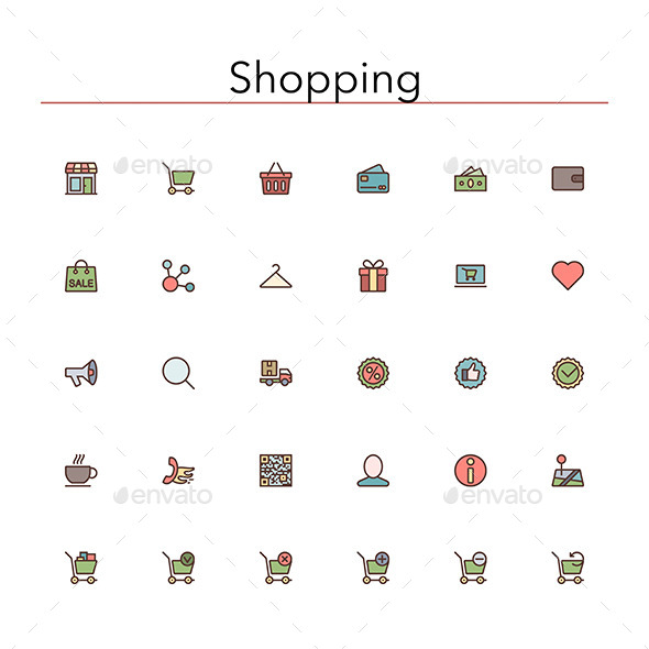GraphicRiver Shopping Colored Line Icons 10289526