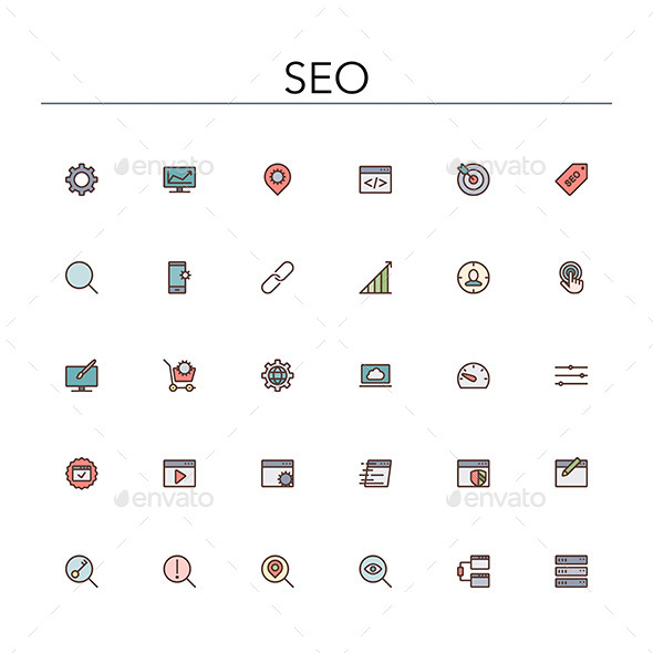 GraphicRiver SEO Colored Line Icons 10289530