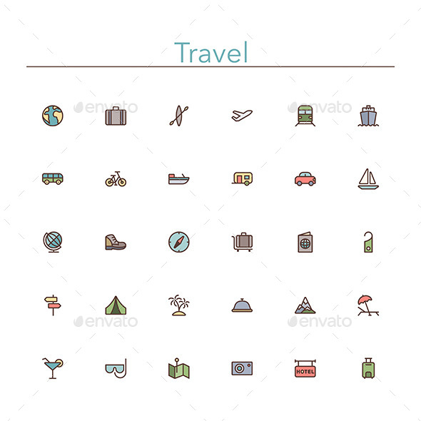 GraphicRiver Travel Colored Line Icons 10289532