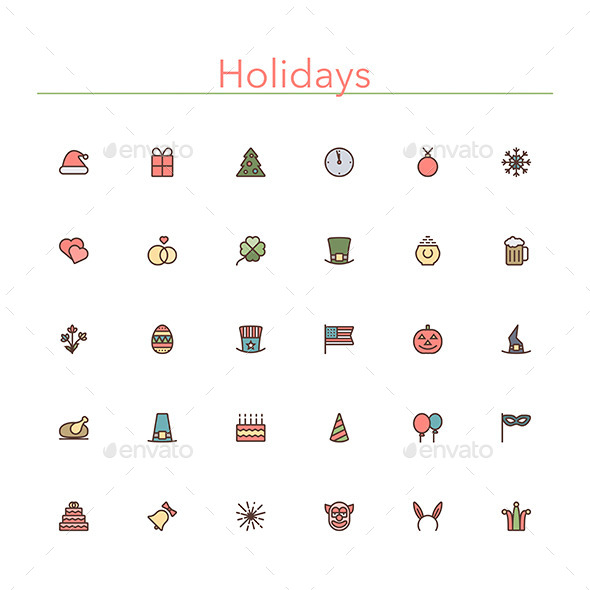 GraphicRiver Holidays Colored Line Icons 10289535