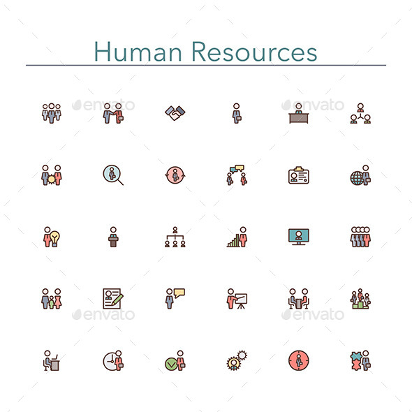 GraphicRiver Human Resources Colored Line Icons 10289540