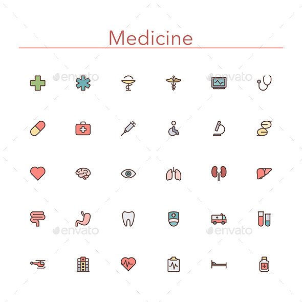 GraphicRiver Medicine Colored Line Icons 10289547