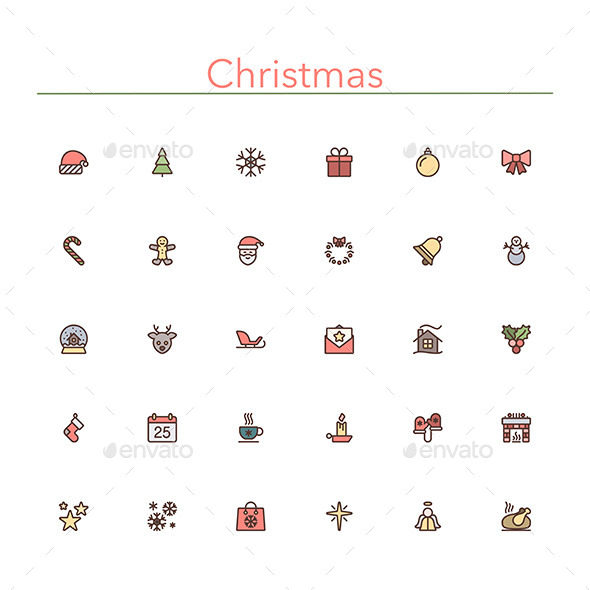 GraphicRiver Christmas Colored Line Icons 10289550