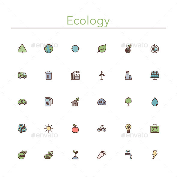 GraphicRiver Ecology Colored Line Icons 10289554