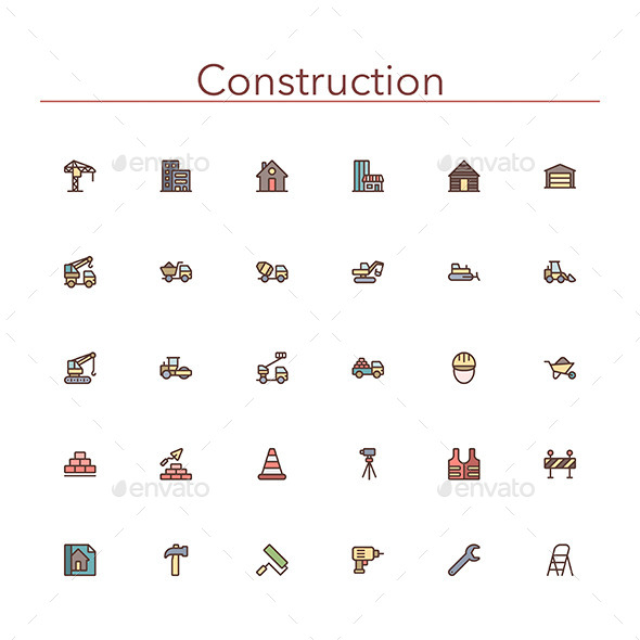 GraphicRiver Construction Colored Line Icons 10289560