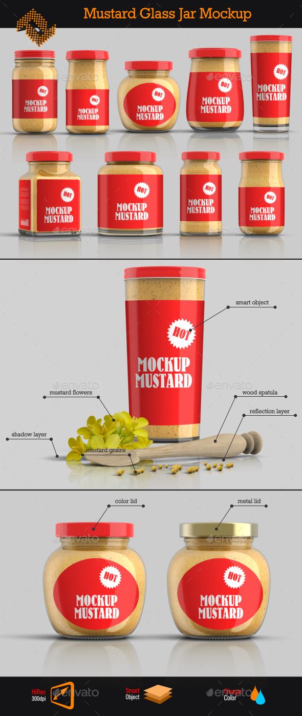 GraphicRiver 9 Mustard Jars Mockup 10289591