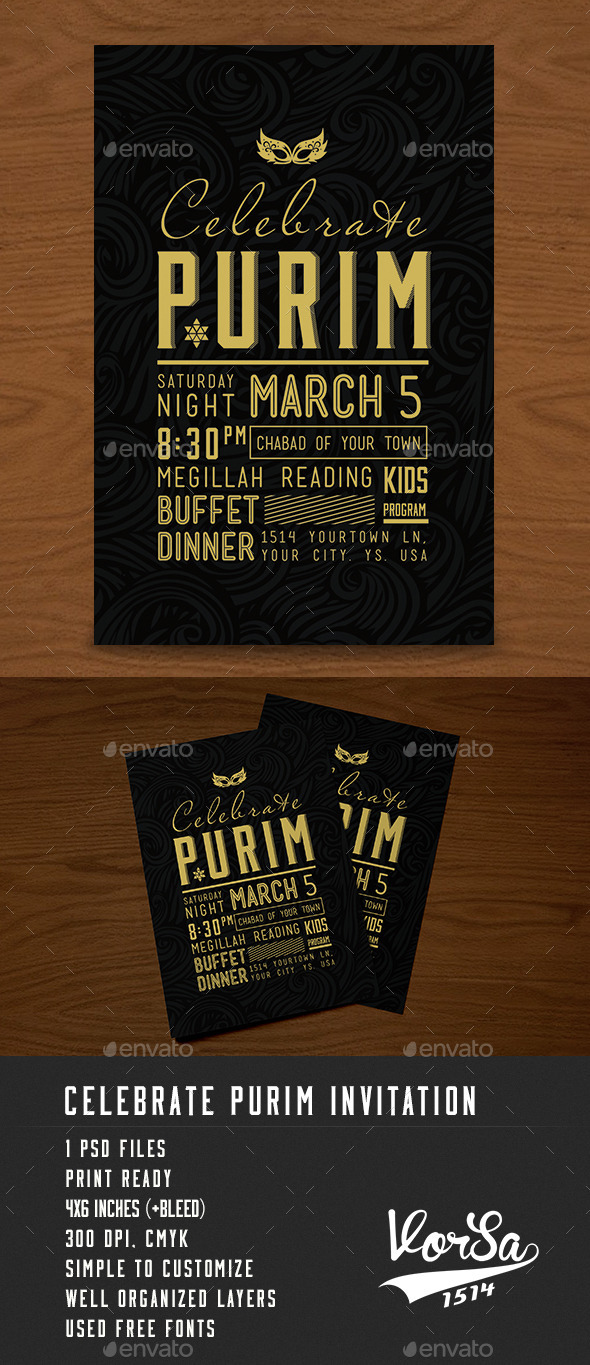 GraphicRiver Celebrate Purim Invitation 10289725
