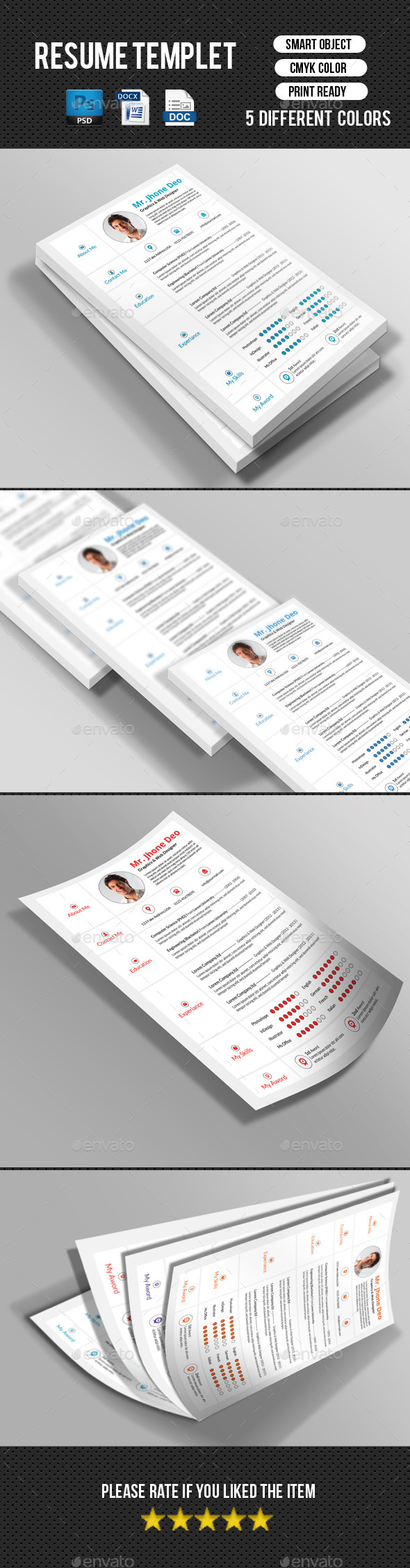GraphicRiver Minimal Resume CV 10289764