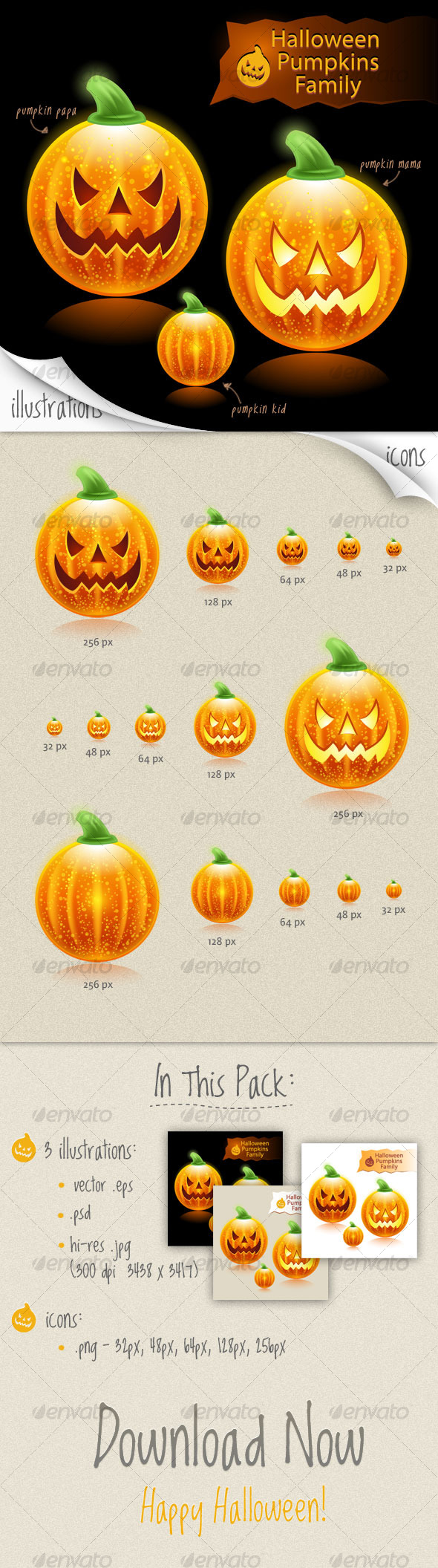 Halloween pumpkins family icons