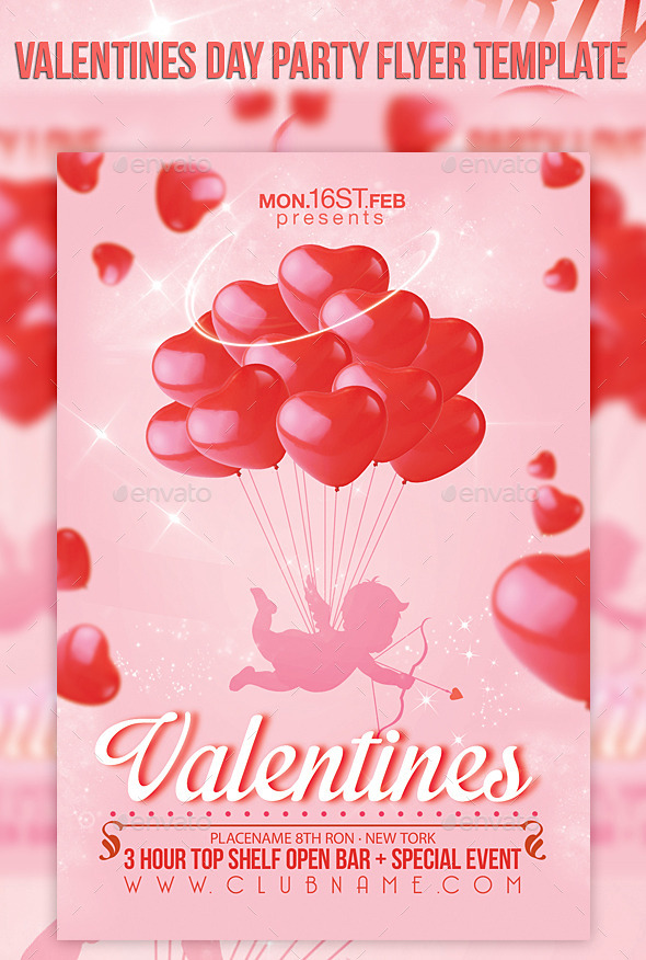 GraphicRiver Valentines Day Party Flyer Template 10236800