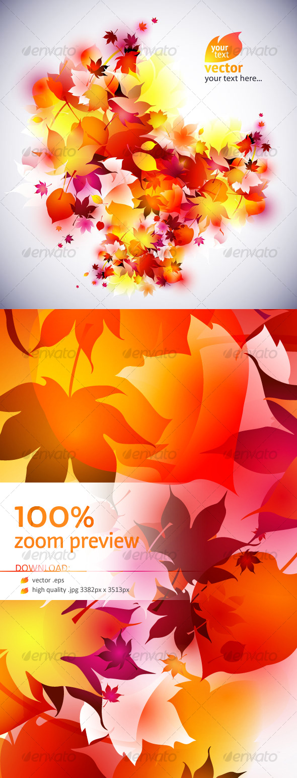 Vector autumn leaves background - abstract - Backgrounds Decorative