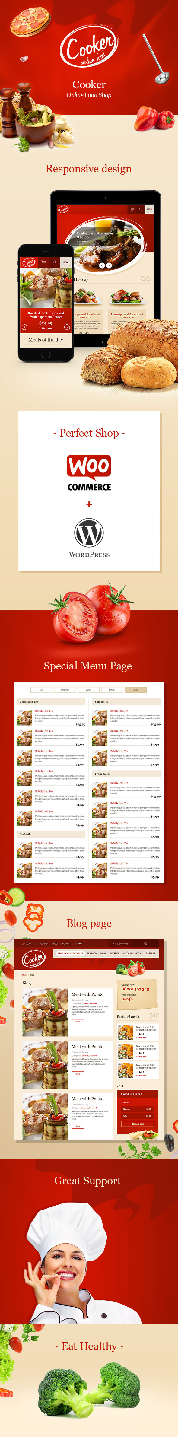 Cooker - Responsive Online Restaurant, Cafe Bar