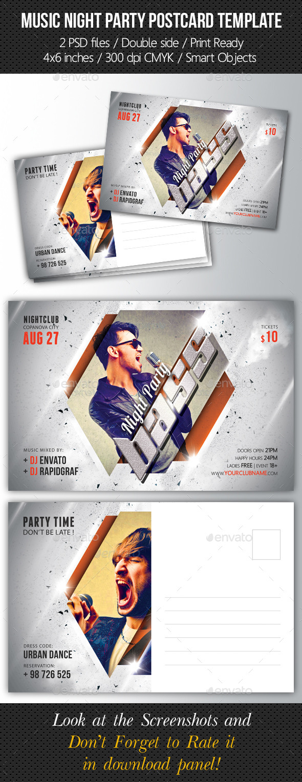 GraphicRiver Music Night Party Postcard Template V02 10290872