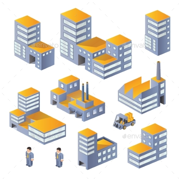 GraphicRiver Buildings in the Isometric 10291159