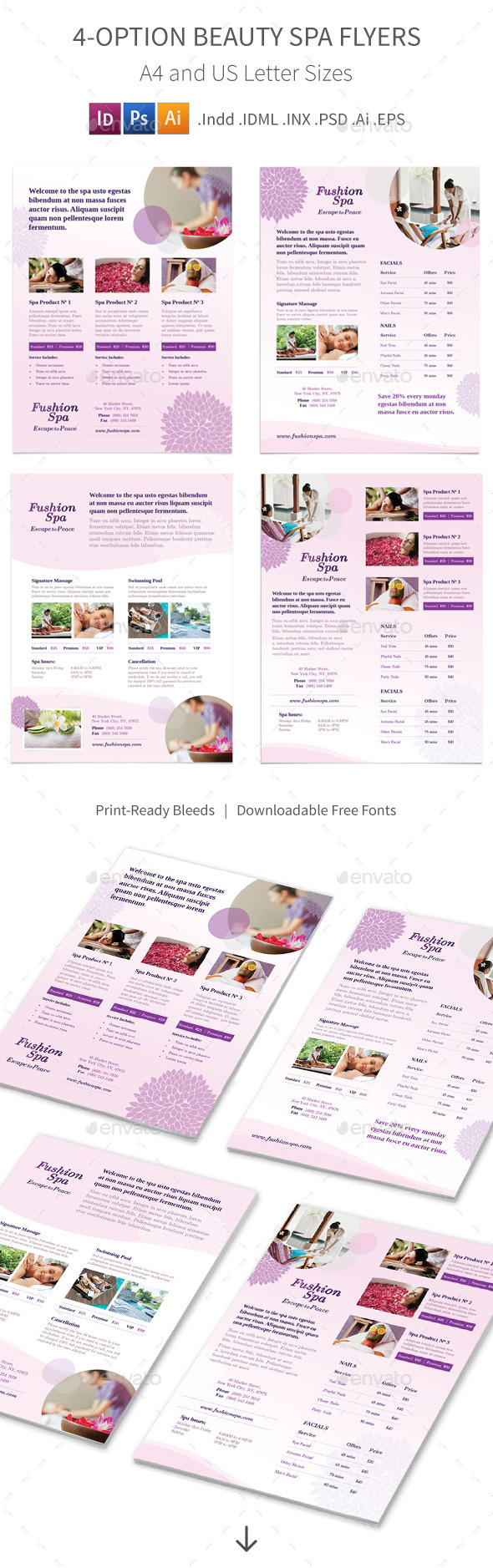 Beauty Spa Flyers 4 Options