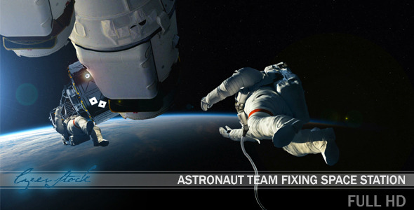 Astronaut Team Fixing Space Station