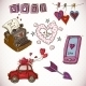 Doodle Card Valentines Day with Heart of Clouds - GraphicRiver Item for Sale