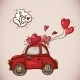 Doodle Card Valentines Day with Red Car - GraphicRiver Item for Sale