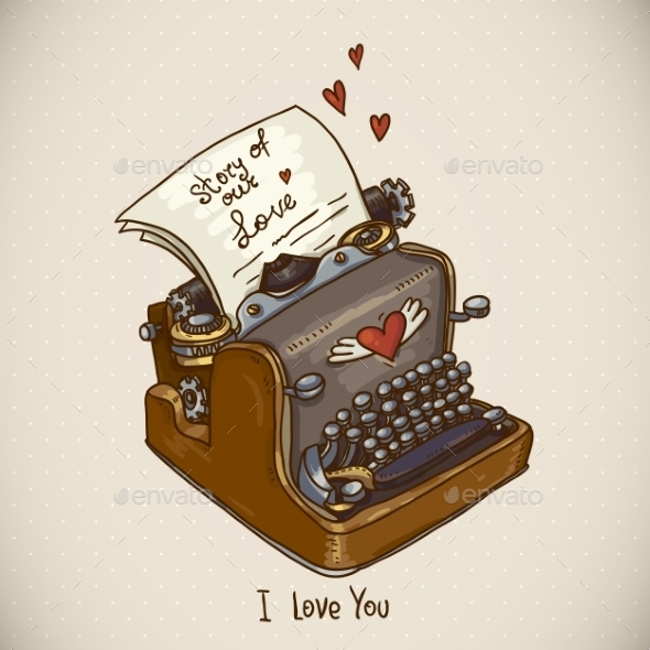 GraphicRiver Doodle Vintage Greeting Card with Retro Typewriter 10291429