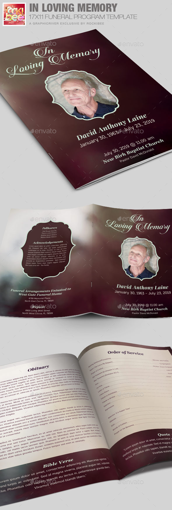 GraphicRiver In Loving Memory Funeral Program Template 10291668