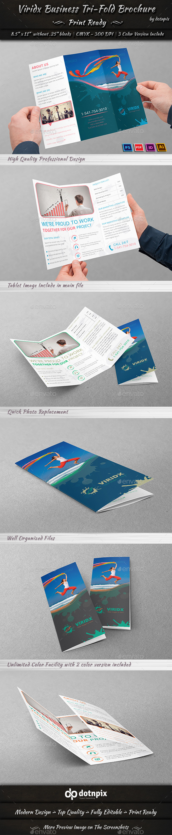 GraphicRiver Viridx Business Tri-Fold Brochure 10291679