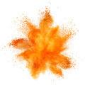 orange powder explosion isolated on white - PhotoDune Item for Sale