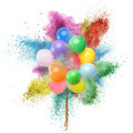 Color balloons and powder explosion isolated on white - PhotoDune Item for Sale