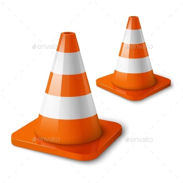 GraphicRiver Realistic Orange Road Cones with Stripes 10292968