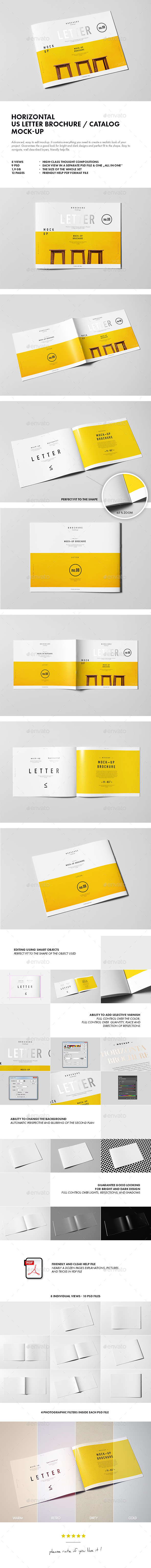 GraphicRiver Horizontal US Letter Brochure Mock-up 10293417