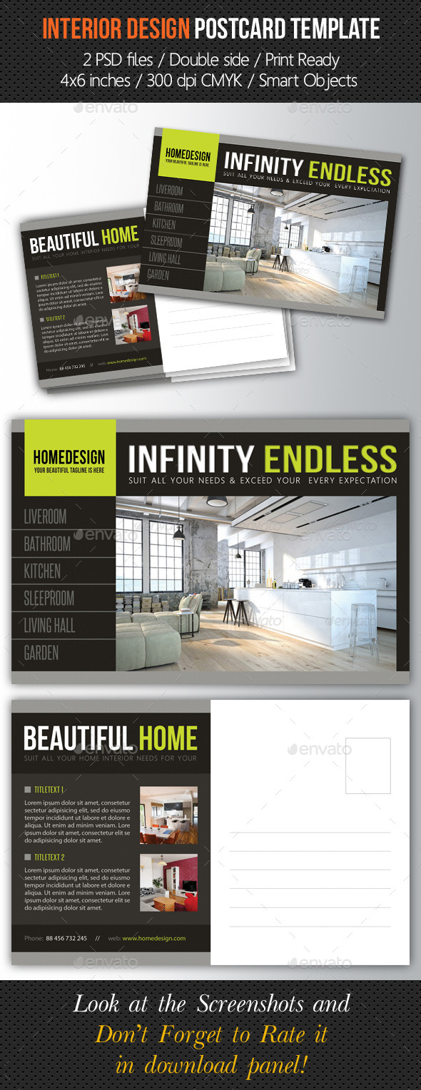 GraphicRiver Interior Design Postcard Template V04 10293699